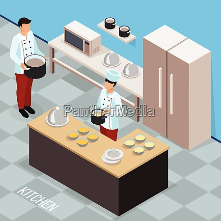 profession of chef isometric composition with