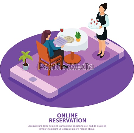 online reservation isometric composition waiter during