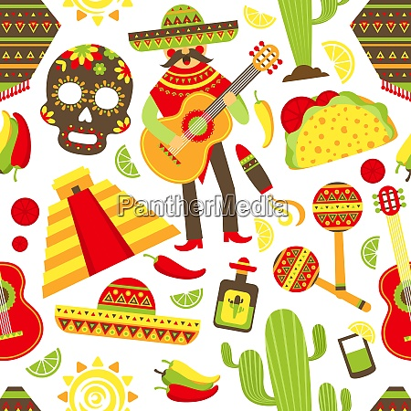 mexico seamless pattern with travel traditional