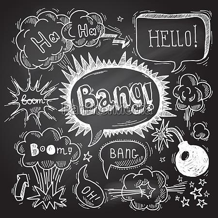 comic speech bubble chalkboard design element