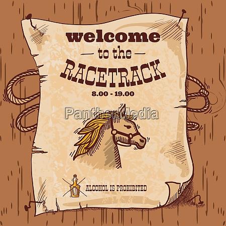wild west cowboy hand drawn racetrack