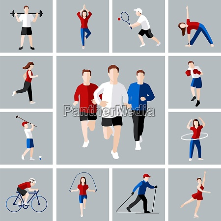 sport and leisure people activities icons