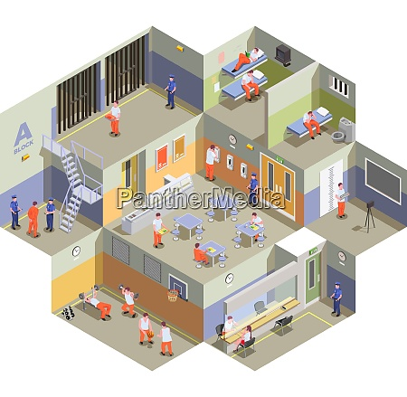 jail detention facility interior isometric composition