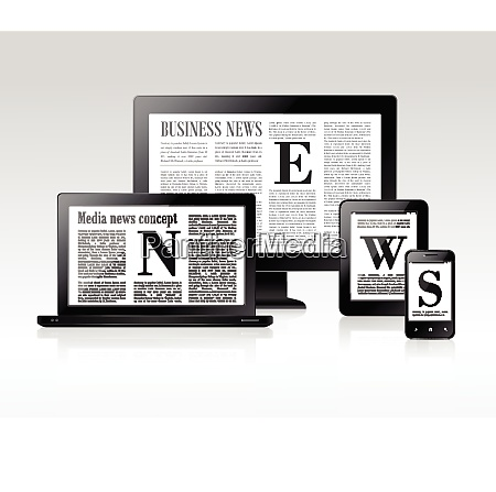 media business news concept with pc