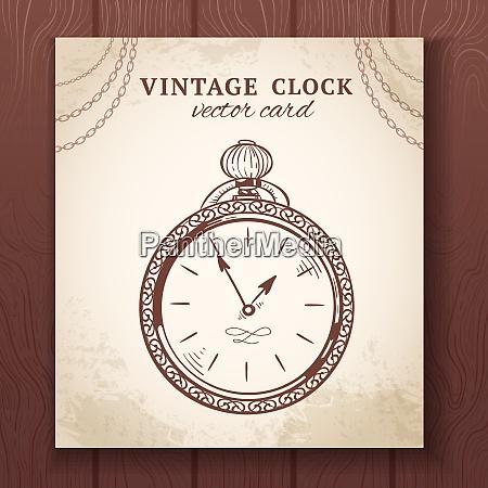 old vintage retro sketch pocket watch