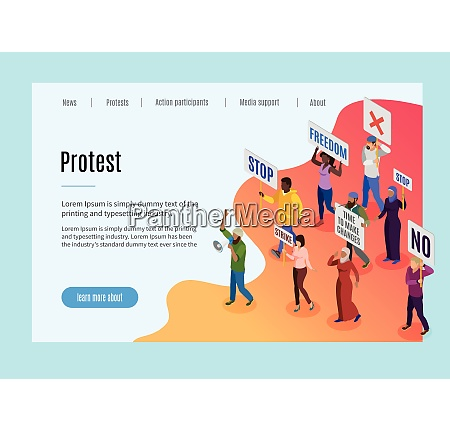 politic protest landing page with text
