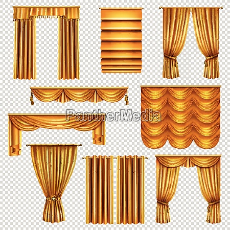 set of realistic luxury curtains of