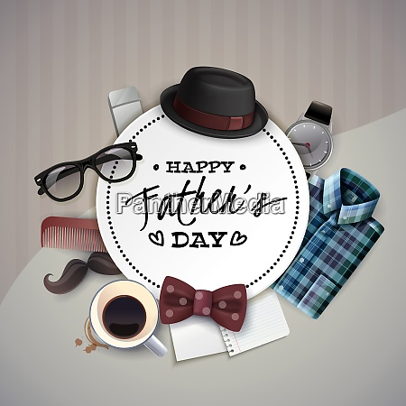 fathers day celebration round frame card
