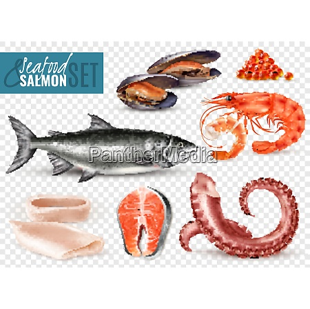seafood realistic set with whole fresh