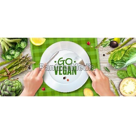 go vegan realistic top view advertising