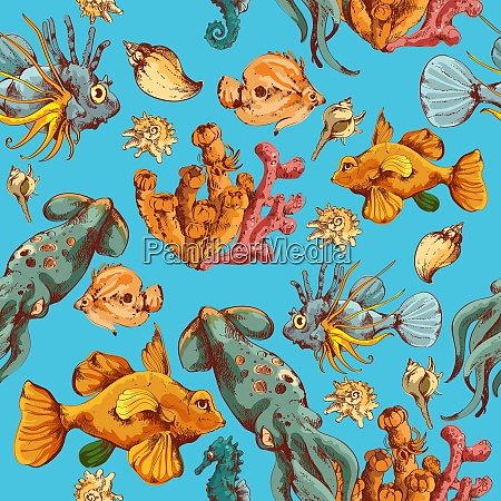 sea fishes and ocean creatures sketch