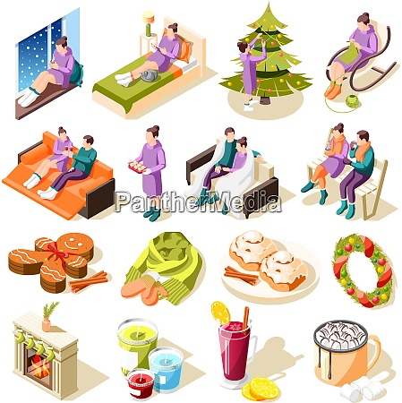 cozy winter isometric icons with home
