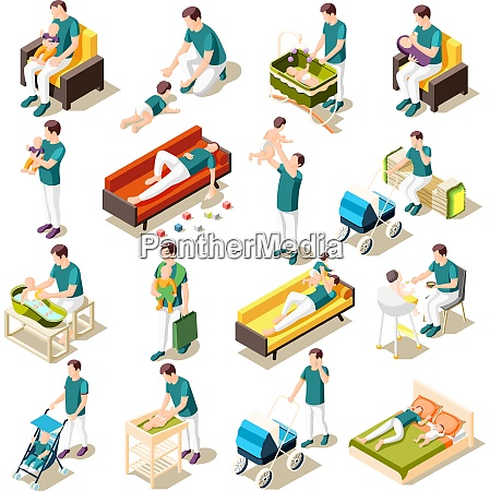 fathers on maternity leave isometric icons