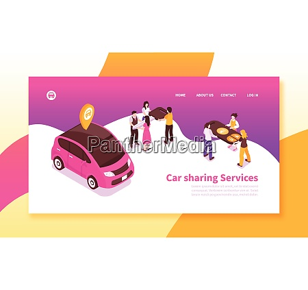 car pooling service isometric horizontal banner