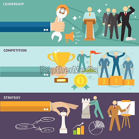 leadership flat banners set with competition