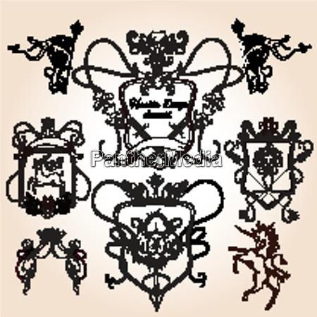 heraldic design elements decorative crest shield