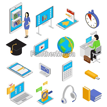 online education icons set with knowledge