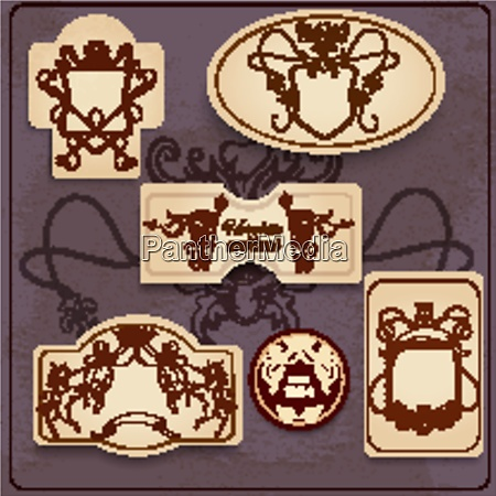 heraldic sketch decorative emblems set with
