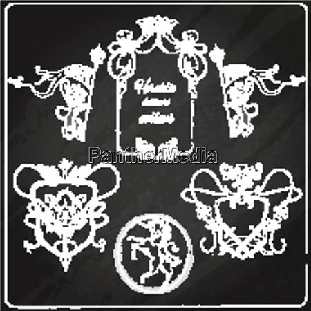 heraldic chalkboard crest shield and insignia