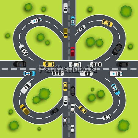 highway traffic cloverleaf intersection top view