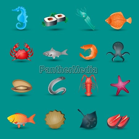 seafood icons set with fish octopus