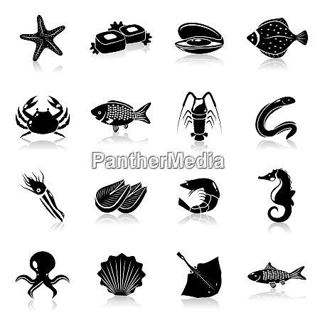 seafood icons black set with starfish