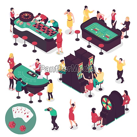 casino and gambling isometric set with