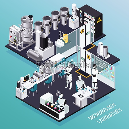 robot isometric professions concept with microbiology