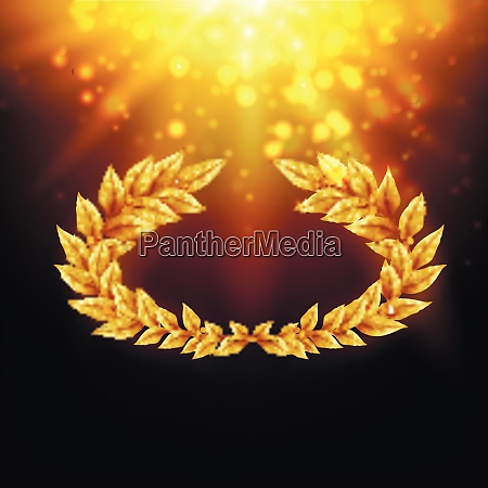 shiny background with golden laurel wreath