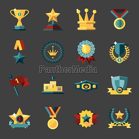 award icons set of trophy medal