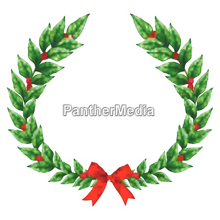 christmas green wreath decorated with red