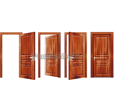 modern wooden opened and closed door