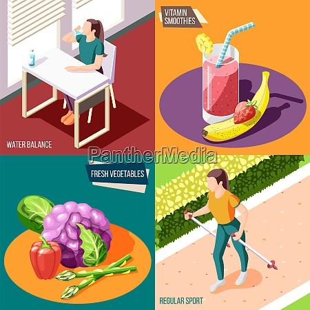 healthy lifestyle 2x2 design concept set