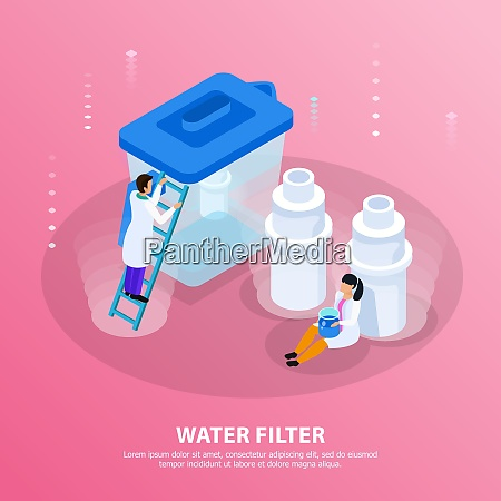 water purification isometric background with water