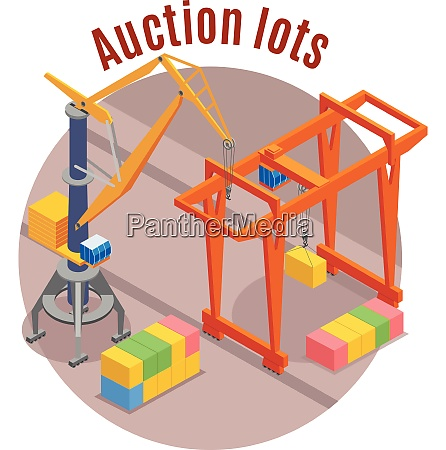 seaport colored isometric background with auction