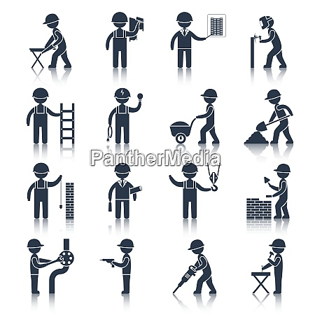 construction worker people silhouettes icons black