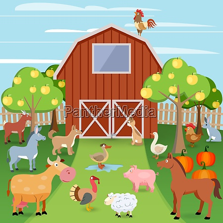 summer farm with wooden house and