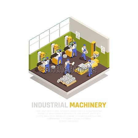 industrial machinery isometric concept with factory