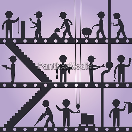construction working people silhouettes building concept