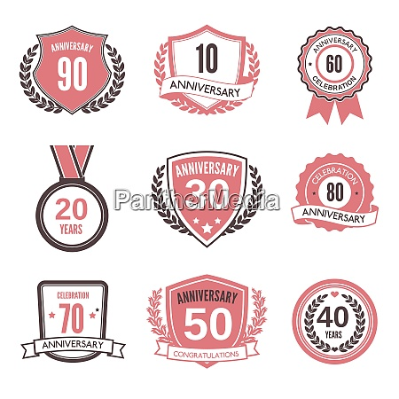 anniversary wedding celebration vintage label icons