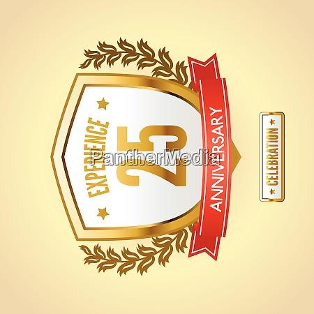 anniversary 25 celebration golden label shield
