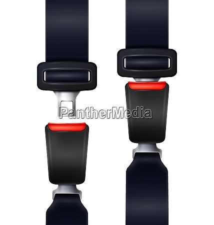 set of realistic automobile seat belts