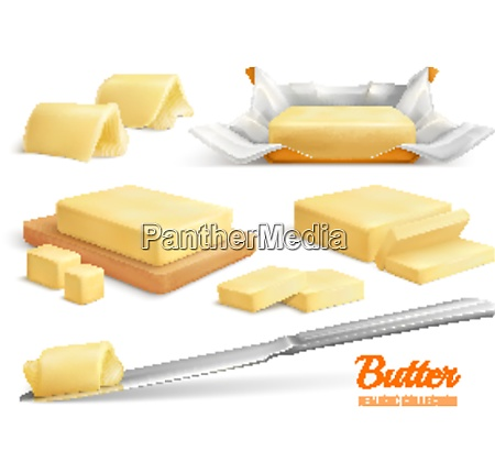 realistic set of butter slices sticks