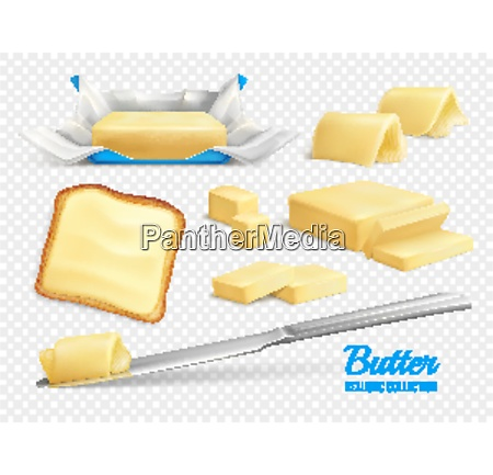 butter sticks and slices realistic set