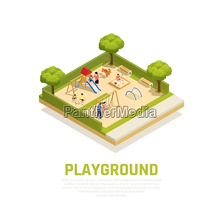 playground isometric concept with outdoor family