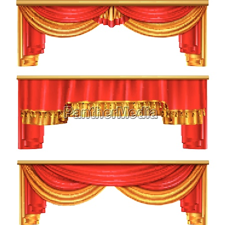 luxury curtains realistic composition with red
