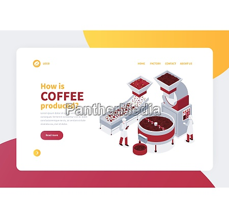 isometric concept banner with coffee production