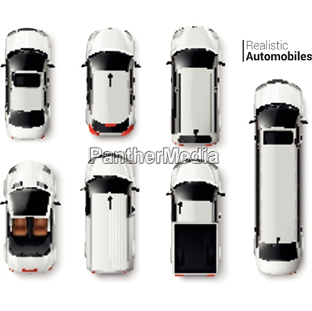 white cars top view realistic set