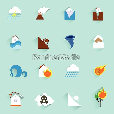 natural disaster catastrophe and crisis icons