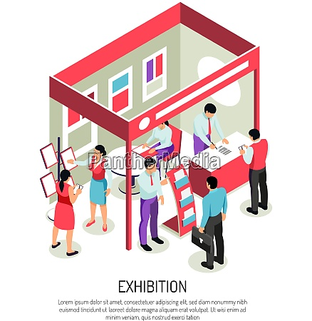 isometric expo background composition with editable